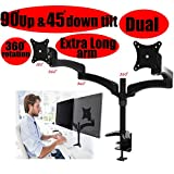2xhome - New Extra Long Dual Extension Arms 3 Way Three-sectioned Ergonomic Fully Easy Height Adjustable Articulating Flex Tilting Retractable Black Desk Pole Mount Bracket Desktop Flat Panel Clamp Stand for Double LCD LED for Standard or Widescreen Monit
