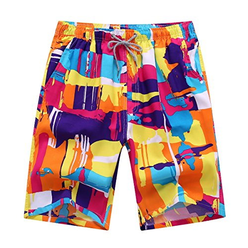 Newland Men's Printing Quick Dry Beach Board Shorts Swim Trunks Plus Size Colorful 29-30 waist