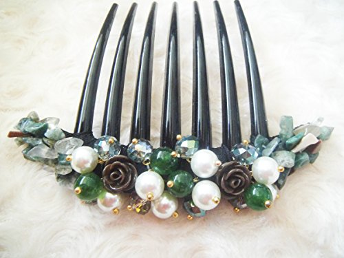 French twist hair comb Ornamented along the top of the heading with Stone & Pearl