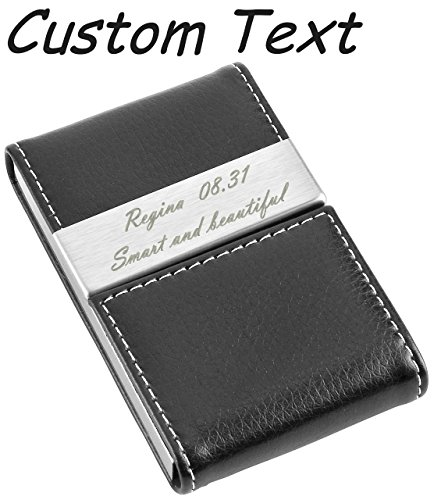 Ayliss Business Card Holder, offer Personalized Engraving service Business Card Case, 5 Black-custom