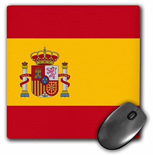 3dRose InspirationzStore Flags - Flag of Spain - Spanish red golden yellow gold with coat of arms crown pillars shield - Rojigualda - MousePad (mp_158436_1) (Crown Pillar)