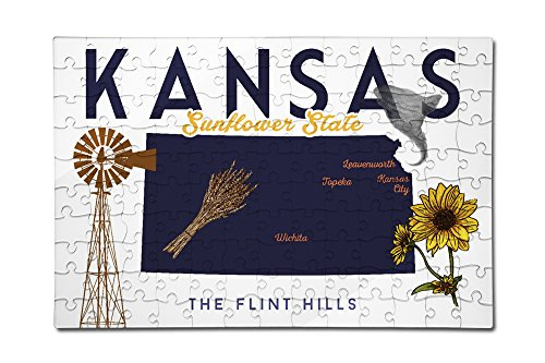 Price comparison product image Kansas - Typography and Icons (12x18 Premium Acrylic Puzzle, 130 Pieces)