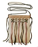 Leatherock Crossbody Cell Phone Pouch With Multi-colored Tassels And Mixed Metal Hardware