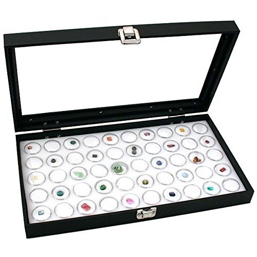 Generic YH-US3-160519-342 8yh3425yh s Stones Bead Case Box White Jars, Displ Glass Top Glass Top 50 Gem Jars, Case Box Jewelry Display welry Dis Display Gems Stones Bead by Generic