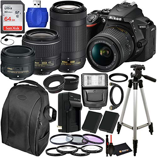 Nikon D5600 DSLR Camera with 18-55mm, 70-300mm, 50mm Nikon Lenses and 22PC Accessory Bundle – Includes: 2X Spare Batteries + Digital Slave Flash + 3PC Filter Set + 4PC Macro Lens Set + More
