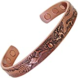Magnetic Therapy Bracelet for Men Women Copper Bracelet for Arthritis Joint Wrist Magnetic Bracelets for Pain Relief Healing Bracelet-Phoenix & Dragon (M: Wrist 6½''-7½'')