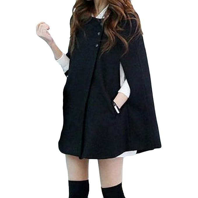 VJGOAL Mujer Invierno Casual Talla Grande Moda Color sólido Capa Botón Largo Abrigo de Lana Chal