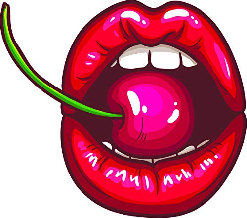 (Sexy Luscious Red Plump Lips Cartoon Art Vinyl Sticker (2