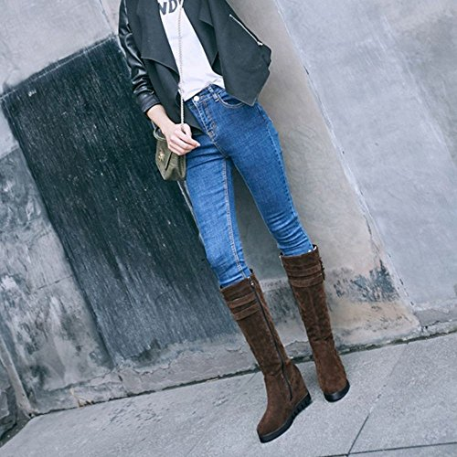 Strap High Hidden Knee Boots Wedge Women High Fashion RAZAMAZA H Decor Buckle Brown qx1n4wtCWY