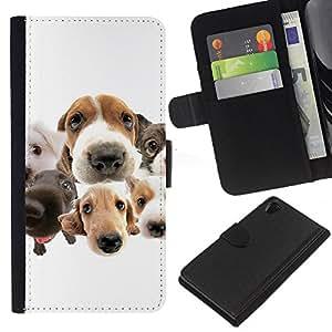 EJOY---La carpeta del tirón la caja de cuero de alta calidad de la PU Caso protector / Sony Xperia Z2 D6502 / --Beagle Labrador Retriever Perros Raza