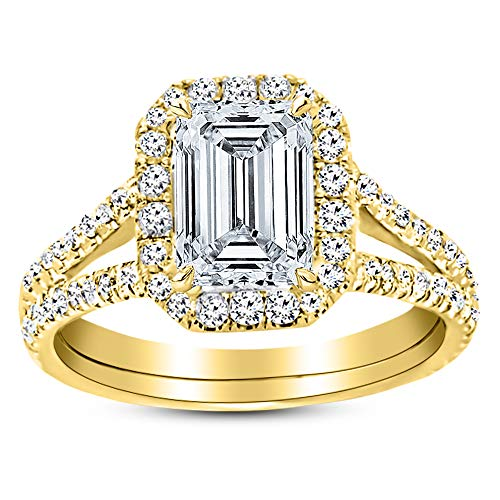 1.01 Carat GIA Certified 14K Yellow Gold Split Shank Emerald Cut Diamond Engagement Ring (0.51 Ct D Color VS1 Clarity Center) ()