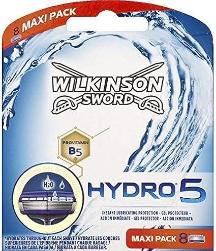 Wilkinson Sword Hydro 5 - Cargador de 4 recambios de cuchillas de afeitar de cinco hojas Wilkinson Hydro 5 con dosificador de gel para máxima hidratación