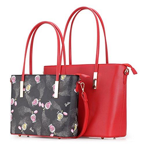 en de haut qualité PU de pièce Sac à PU Rouge Femmes Sac Messager Barbie Sac Sac des en main Franges BBFB597 porté deux épaule avec wPRR4q1B