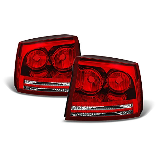 (Driver + Passenger Side OE-Style Red Lens Tail Light Housing Lamp Assembly Replacement For 2006-2008 Dodge Charger)