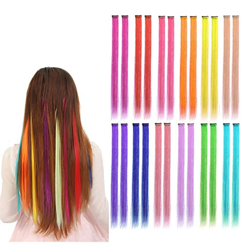 (Kyerivs Colored Hair Extension Multi-Colors Party Highlights Clip in Synthetic Hairpiece rainbow colors 22inch Straight Hair Cospaly Dress up Fashion Christmas Gift For Kids Girls 12 Color in 24 pcs)