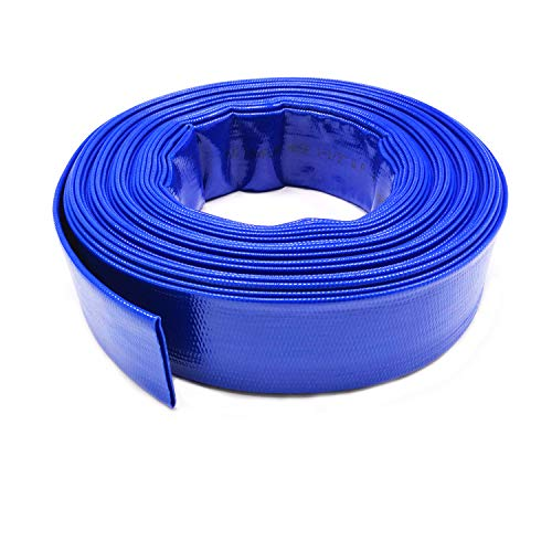 (1.5'' X 50 FT Heavy Duty Reinforced PVC Lay Flat Discharge and Backwash Hose for Swimming Pools)