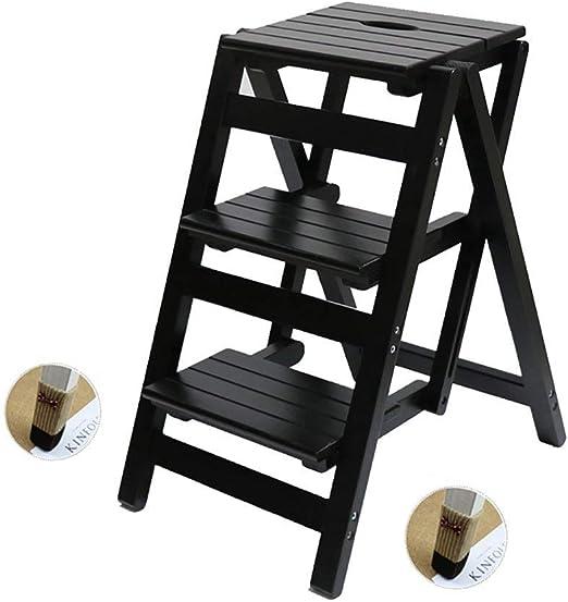 Escalera de madera maciza escalera de techo hecho a mano plegable escalera flor plataforma madera escala multiusos interior familia 3 alta escalera,Black: Amazon.es: Hogar