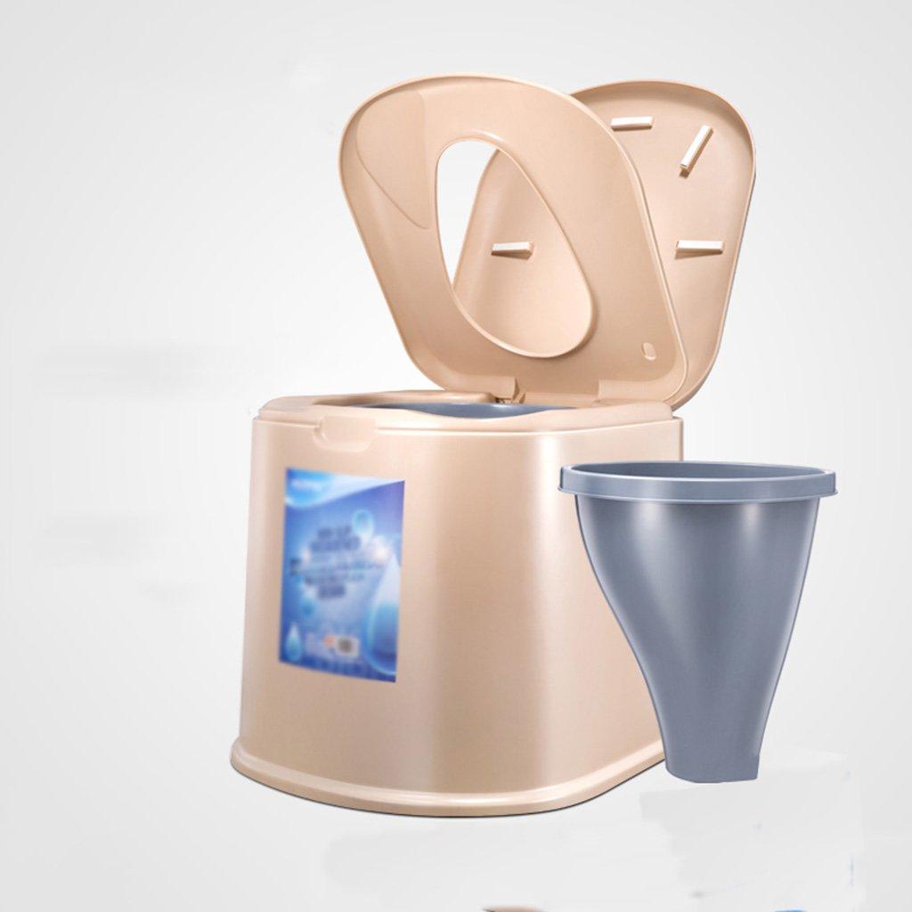 ポータブルトイレプラスチックシートチェア老人妊娠中の女性アダルトトイレモバイル (色 : カーキ, サイズ さいず : B) B07CXL9LSL B カーキ カーキ B