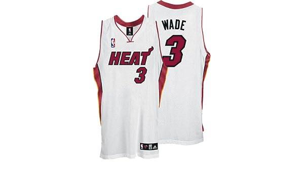 da6a25239 Amazon.com   Dwyane Wade White adidas NBA Authentic Miami Heat Jersey    Athletic Jerseys   Sports   Outdoors