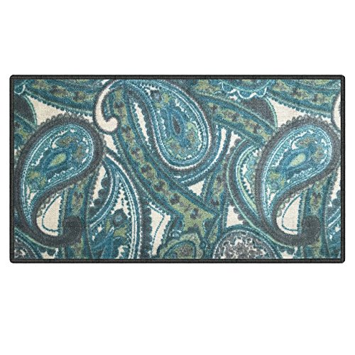 - Silk & Sultans Agathe Collection Contemporary Blue Paisley Design, Pet Friendly, Non-Slip Doormat with Rubber Backing, 1'x2' Blue