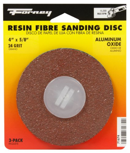 Forney 71674 Sanding Discs, Aluminum Oxide with 7/8-Inch Arbor, 4-Inch, 24-Grit, 3-Pack