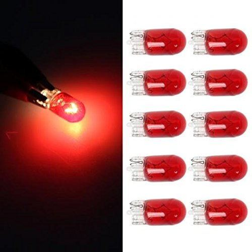 Glasses 921 (Partsam 12V 5W T10 Auto Turnning Light Marker Clearance Lamp Qty 10 501 194 2825 Red Glass)