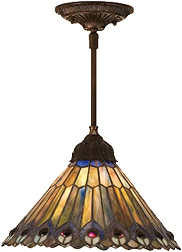 Meyda Home Indoor Decorative 12 W Tiffany Jeweled Peacock Pendant Lighting Ceiling Fixture-48926