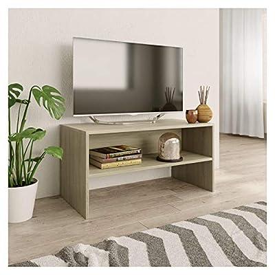 "K&A Company Entertainment Center & TV Stand, TV Cabinet Sonoma Oak 31.5""x15.7""x15.7"" Chipboard"