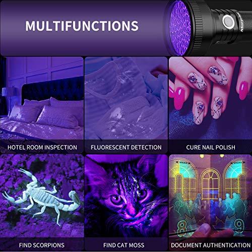 Lampe Torche UV Rechargeable, Morpilot 51 LED Lampe de Poche UV 395nm Lumière Noire Ultra Violette avec Câble USB pour Détecter Tache Urine Animal Chien, Resine, Fluorescent, Scorpion etc.