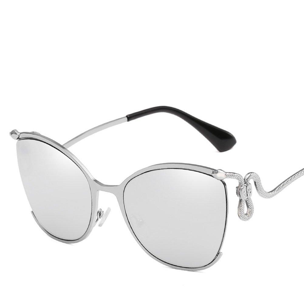 Sonnenbrille-Katzen-Augen-Halber Rahmen-Art- Und Weisebunte Blendschutz UV400 Gläser,Silver