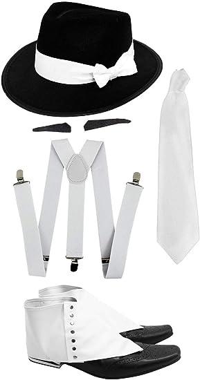 1920/'S PINSTRIPE GANGSTER HAT TIE BRACES TRILBY FEDORA PARTY FANCY DRESS COSTUME