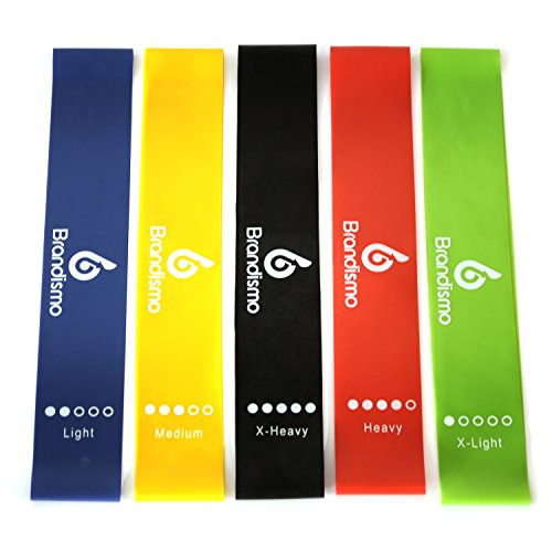 Resistance-Loop-Exercise-Bands--Set-of-5--Workout-Bands-for-Leg-Ankle-Stretching-Physical-Therapy-Yoga-and-Home-Fitness--With-Bonus-eBooks-Instruction-Manual-Carry-Bag-Online-Videos