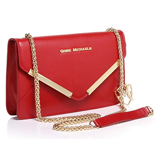 Greg Michaels Rebecca in Red Envelope Style Handbag Nappa-leather, Purse