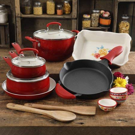 Useful,Gorgeous and Stunning The Fiona Floral 17-Piece Classic Belly Aluminum Cookware Combo Set, Sunset Red,Perfect Gift Idea for Moms and Anyone who loves to Cook