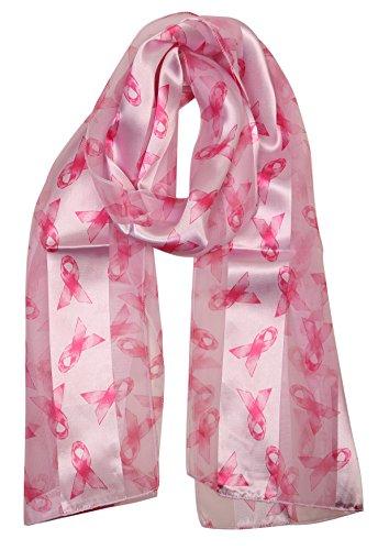 S-1000-BC-24 Satin Breast Cancer Ribbon Scarf - (Breast Cancer Scarf)