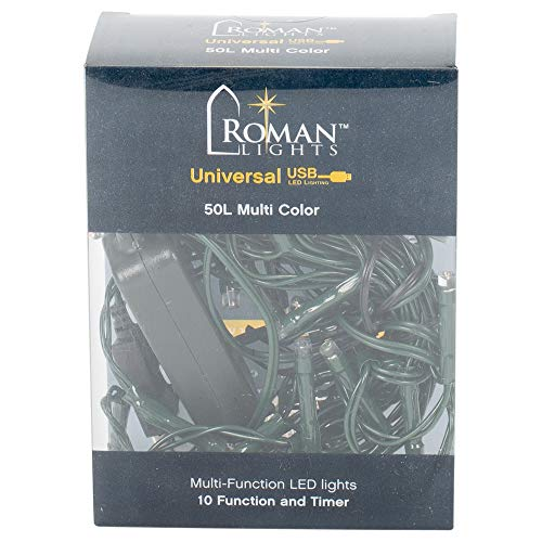 Roman 50L USB Multicolor LED Green Cord 10 Function 8/16 Timer