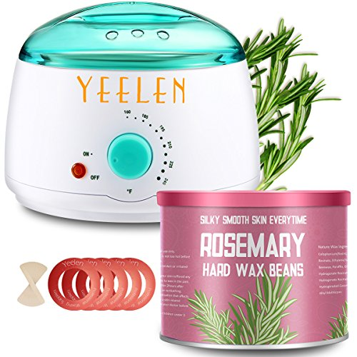 【Rosemary Essential Oil】Yeelen Hair Removal Waxing Kit Hot Wax Warmer Melting Pot for Women Legs, Underarms, Brazilian Bikini, Eyebrow, Face & Body At-home Waxing