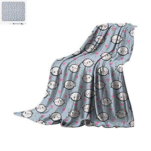 Narwhal Digital Printing Blanket Colorful Polka Dotted and Heart Pattern Background with Cartoon Character Whales Oversized Travel Throw Cover Blanket 80