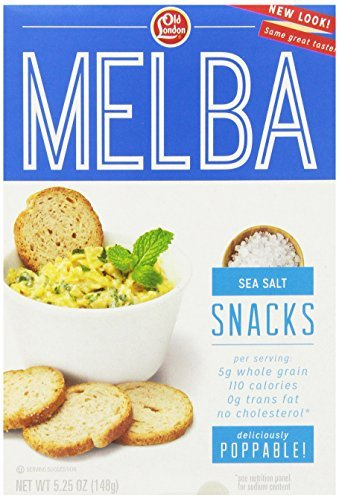 (Old London All Natural Melba Snacks Sea Salt-Whole Grain, 5.25-Ounce Boxes (Pack of 12) by Old London)