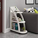 Shelf Movable Three-Layer Corner, Sofa Side, Multi-Functional Rack Floor with Wheels, Side End Nightstand Simplistic Narrow Bedside Corner Sofa Table Open (Color : White)