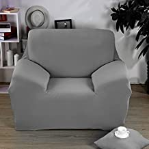 Bluecookies Sofa Covers Stretch 3 Seater Fabric Couch Slipcover Protector (Chair, Grey)