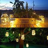 Mason Jar Solar Lantern Lights, 8 Pack 20 Leds Fairy Star Firefly Solar Lids Jar Lights,8 Hangers Included(No Jars),for Mason Jar Wedding Patio Garden Lanterns Table Decor Lights