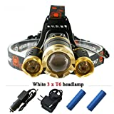 LED Headlamp Headlight 6000 Lumens 18650 Rechargeable Batteries Waterproof Zoomable Headlamps 4 Modes