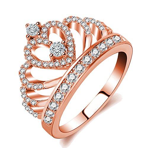 Haoze Rose Gold Princess Crown Tiara Design Cubic Zirconia Diamond Ring Wedding Engagement Ring for Women (Princess Rose Gold Ring)