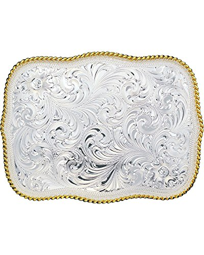 Montana Silversmiths Men's Silver Engraved Scalloped Western Belt Buckle Multi One Size (Multi Buckle Belt)