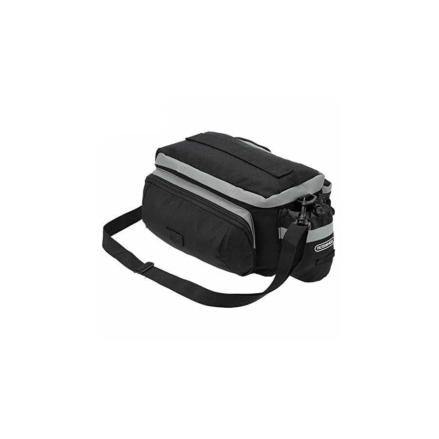 TraderPlus Bike Pannier Bag Durable & Waterproof Nylon with Reflector Handbag | Shoulder Strap Rack Rear Trunk Tote Bag | Strong Velcro, Zipper Pockets & Bottle Case