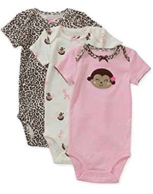 Pink Leopard Monkey Bodysuit 3 Piece Set 3-6 Months