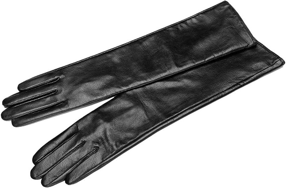 Vocono - Guantes largos de piel para mujer con pantalla táctil de invierno