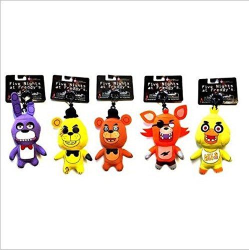 [5pcs/set Five Nights at Freddy's FNAF Characters Plush Toys Key Chain Clip Key Ring] (Sim Character Costume)