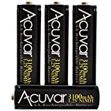 4 High Capacity AA Rechargeable Batteries 3100mAh
